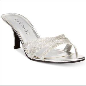 Rampage Frankie silver glitter kitten heel sandal
